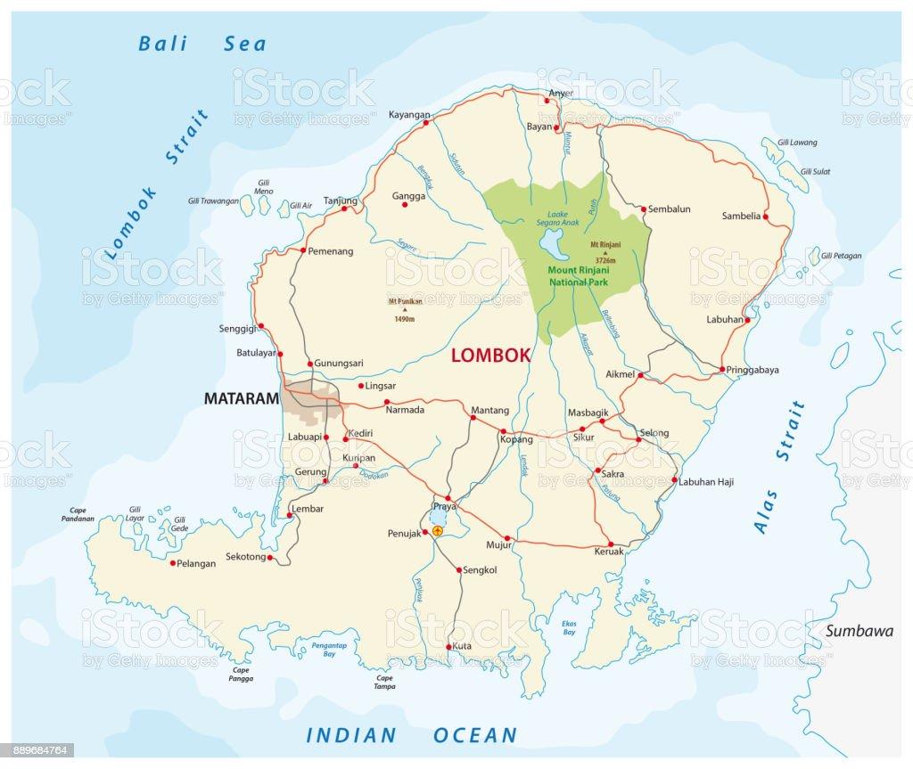 Mapa de carreteras de la isla indonesia de lombok arte vectorial mapa de carreteras de la isla indonesia de lombok mapa de carreteras de la isla indonesia gumiabroncs Image collections