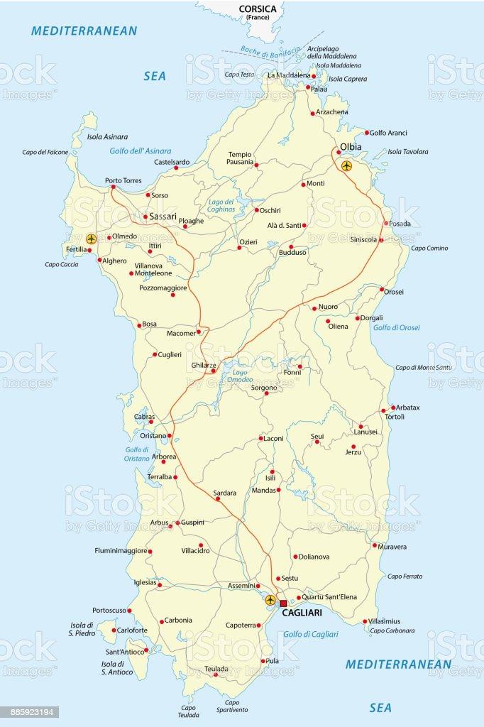 Road map of the italian mediterranean island sardinia vector art illustration