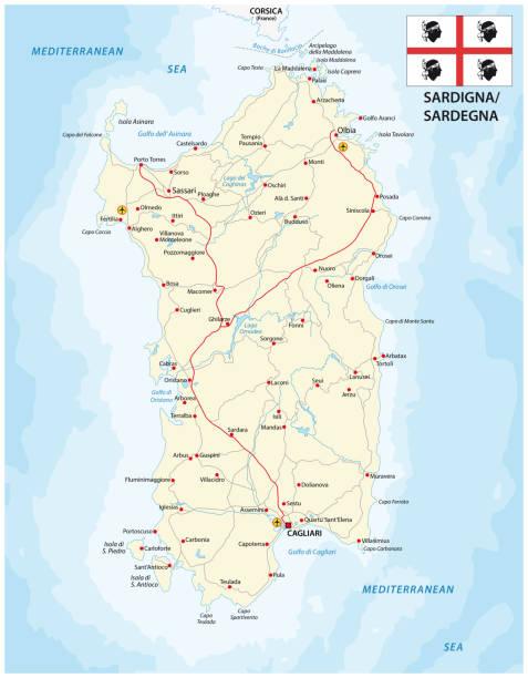 illustrazioni stock, clip art, cartoni animati e icone di tendenza di road map dell'isola mediterranea italiana sardegna con bandiera - sardegna