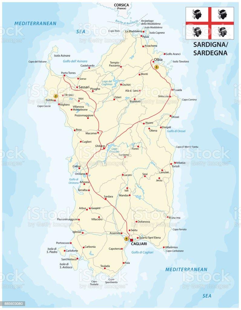 Road map of the italian mediterranean island sardinia with flag vector art illustration