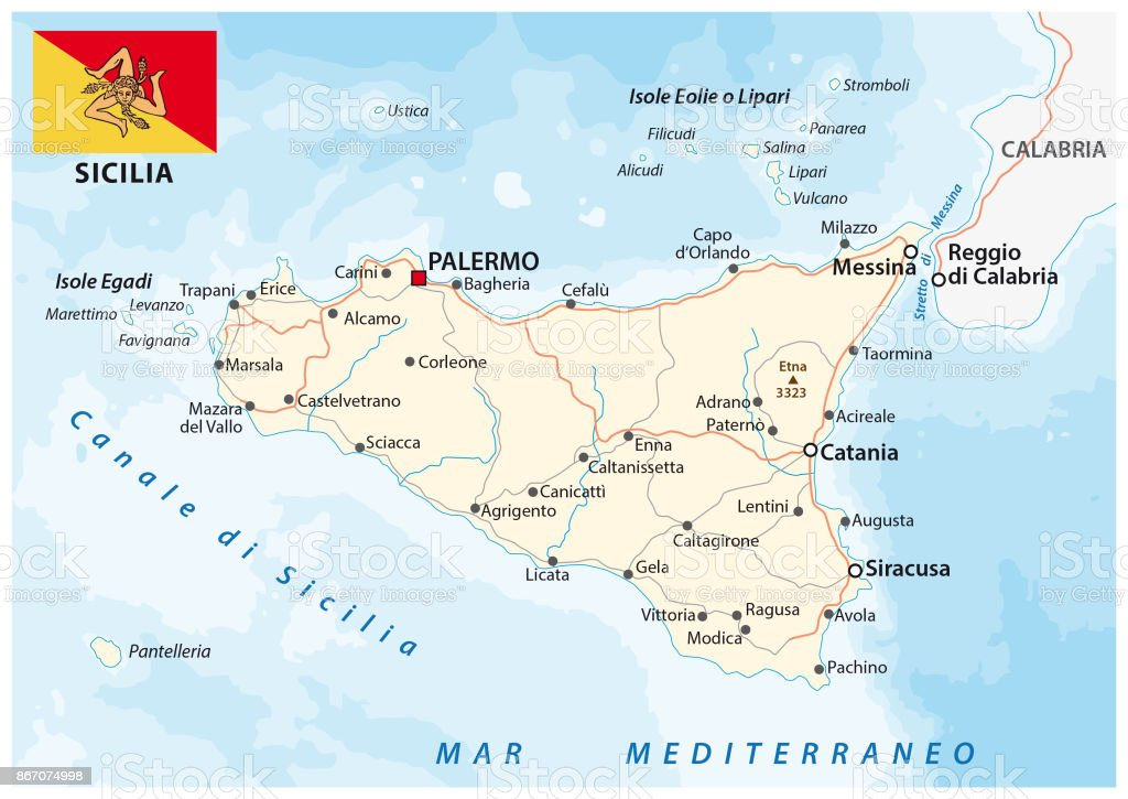 Map Of Italy And Islands.Road Map Of The Italian Mediterranean Island Sicily With Flag Stock