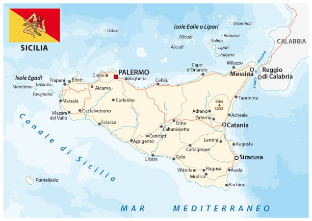road map of the italian mediterranean island sicily with flag - sicily stock illustrations