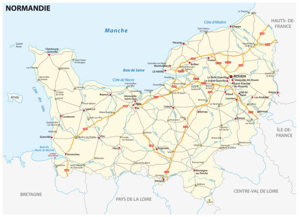 Road map of the new French region of Normandy in French language Road map of the new French region of Normandy in French language manche stock illustrations