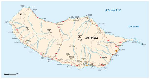 ilustrações de stock, clip art, desenhos animados e ícones de road map of the portuguese island of madeira - funchal madeira