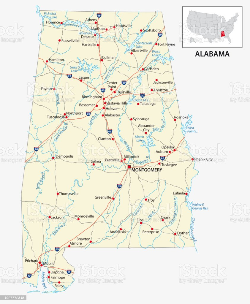 Road Map Of The Us American State Of Alabama Stock Vector Art More