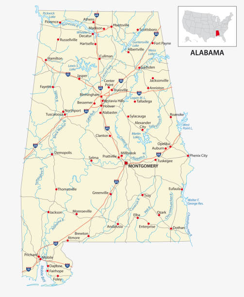 road map of the us american state of alabama - alabama stock illustrations