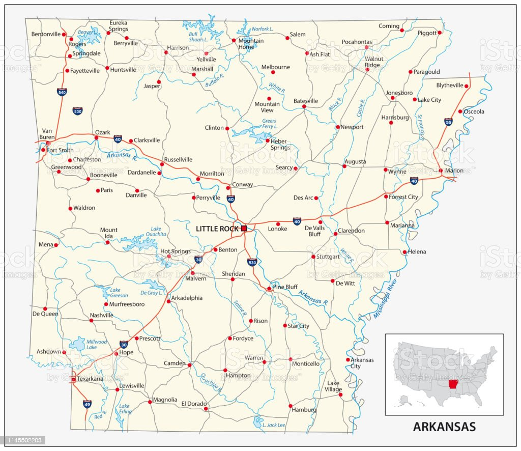 arkansas on the us map Road Map Of The Us American State Of Arkansas Stock Illustration arkansas on the us map