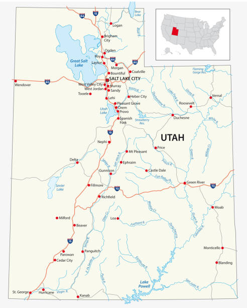road map of the US American State of Utah road map of the US American State of Utah lake powell stock illustrations