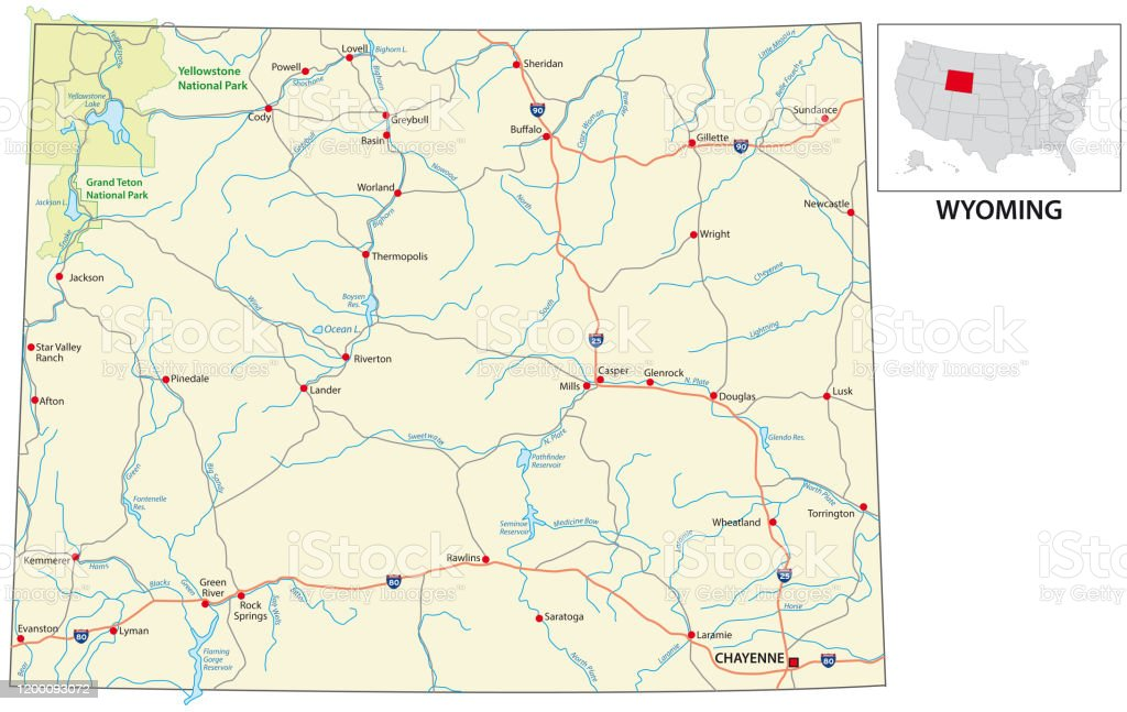 Picture of: Road Map Of The Us American State Of Wyoming Stock Illustration Download Image Now Istock