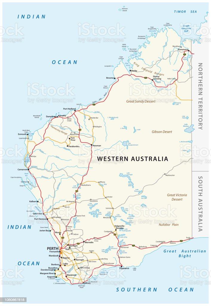 Road Map Australia.Road Map Of The Western Australian State Stock Vector Art More