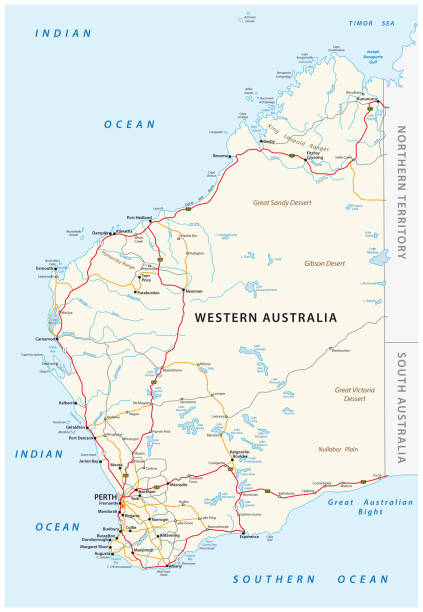 road map of the western australian state - western australia stock illustrations