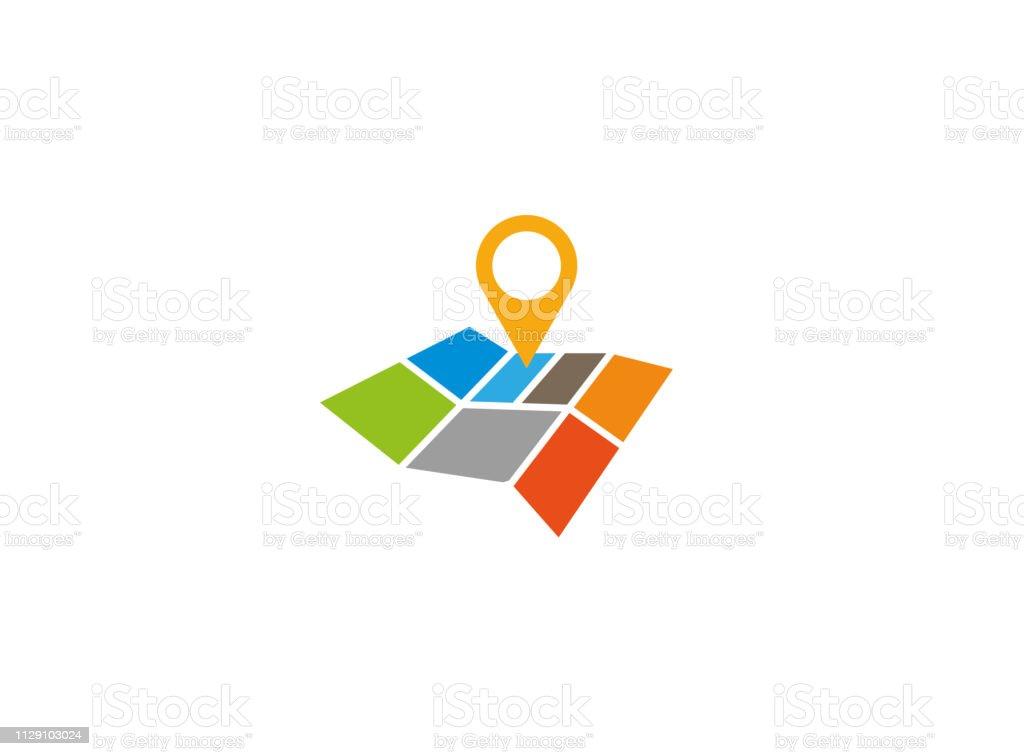 Road Map Pin Ein Zeiger Mit Einer Roadmap Für Logo Stock ...