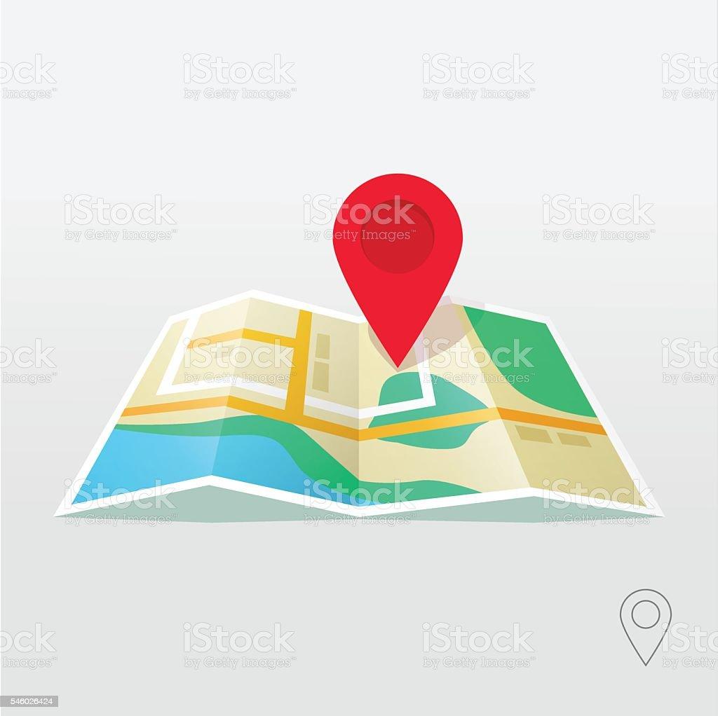 Road Map Pointer Vector Gps Navigation Locator New Roadmap Pin Stock ...