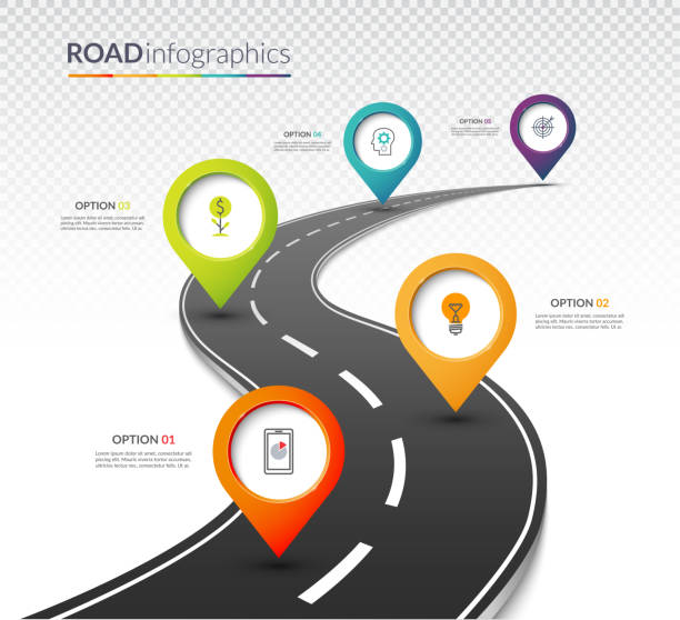 stockillustraties, clipart, cartoons en iconen met road map timeline infographic template met 5 kleurrijke pin pointers op de weg. vector illustratie - weg