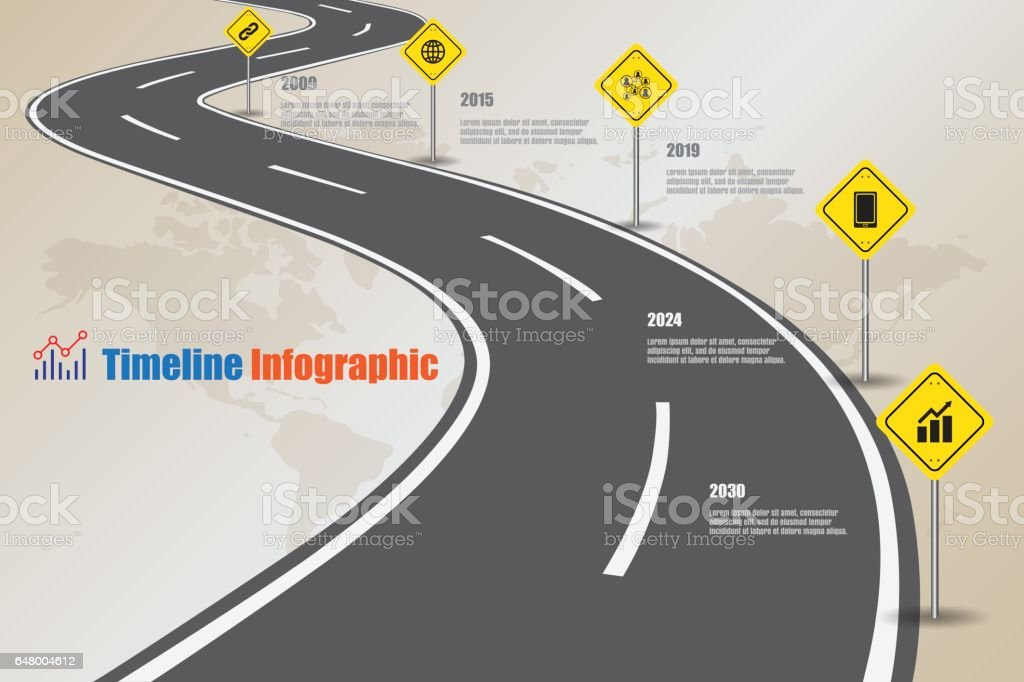 Road map Timeline Infographic, Vector Illustration vector art illustration
