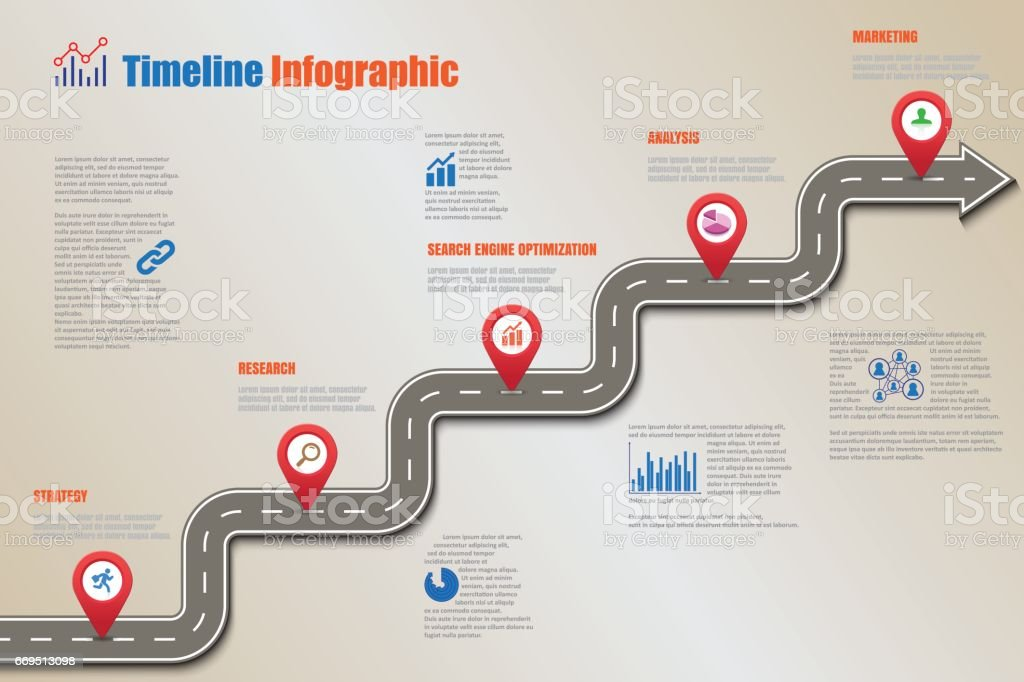 Road Map Timeline Infographic Vector Illustration Stock Vector Art & More Images Of Abstract