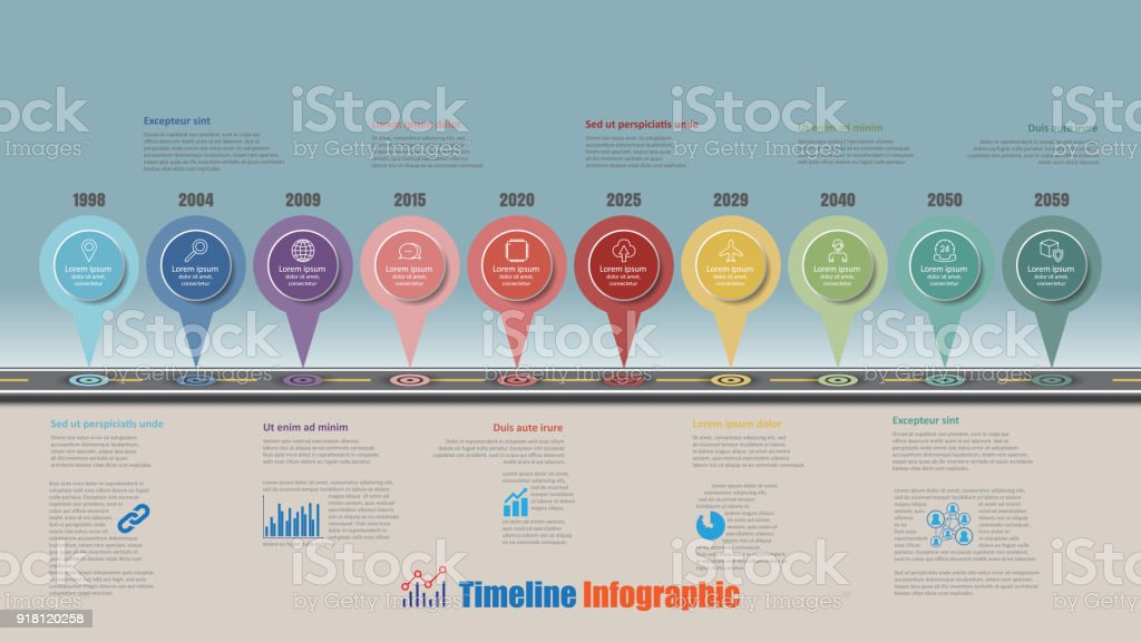 Road map timeline infographic with 10 steps circle, Vector Illustration vector art illustration