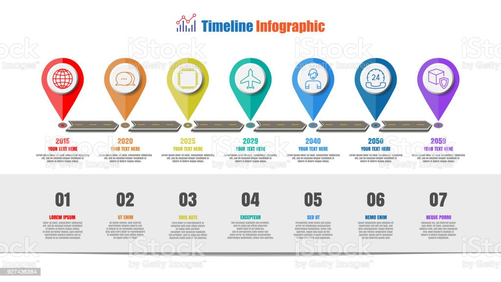 Road map timeline infographic with 7 steps circle, Vector Illustration vector art illustration
