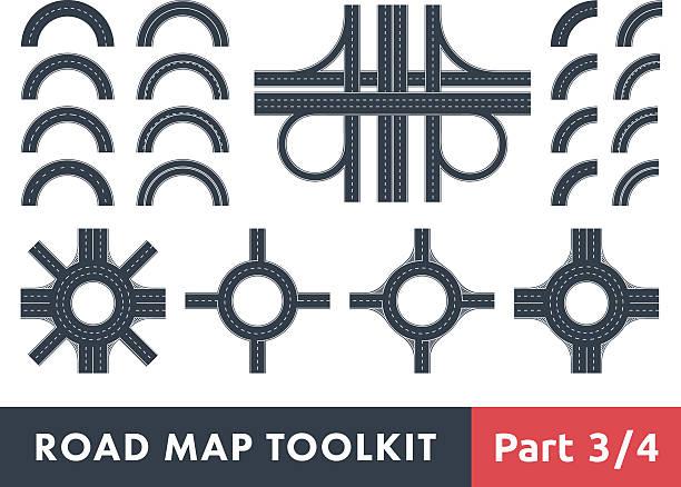 illustrations, cliparts, dessins animés et icônes de carte routière boîte à outils - rond point