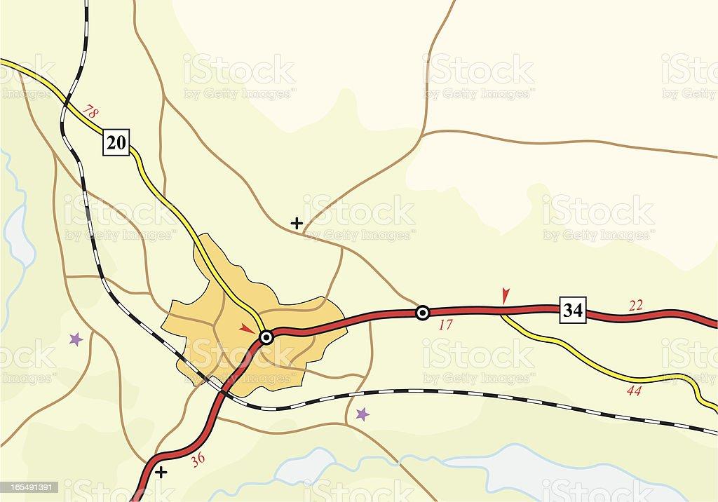 Road map vector art illustration