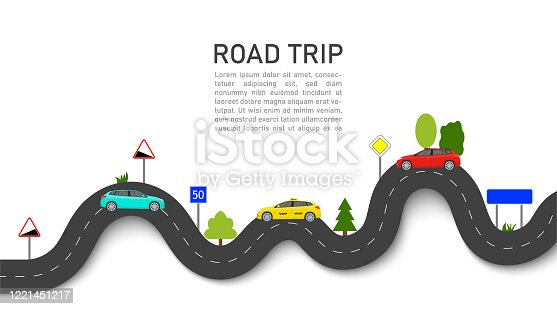 istock Road map with car location. Roadmap of trip or journey. Winding way race on highway with taxi. Infographic and guidance for summer transport tour. graphic background for travel info, business. Vector 1221451217