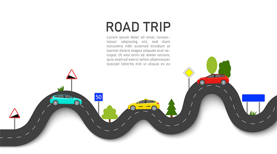 Road map with car location. Roadmap of trip or journey. Winding way race on highway with taxi. Infographic and guidance for summer transport tour. graphic background for travel info, business. Vector