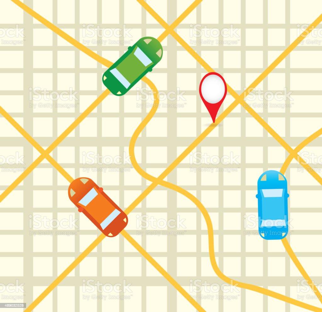 Feuille de route avec des voitures Vue aérienne de téléphone mobile app icône design - Illustration vectorielle