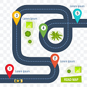 Road map with colorful marks markers, with paved asphalt route, dotted line for cars. Moving cars on road, top view. Roadmap template design on transparent background. Vector illustration.