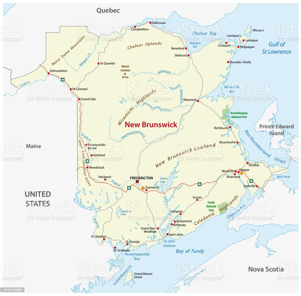Road Map With Flag Of The Canada Atlantic Province New Brunswick