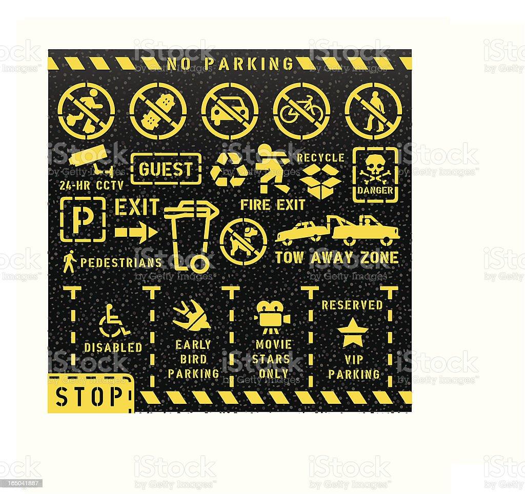 Road Markings (Stencil) royalty-free stock vector art