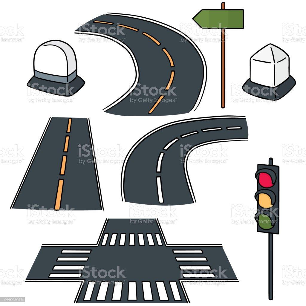 estrada, Marco, semáforo e post de direção - ilustração de arte em vetor