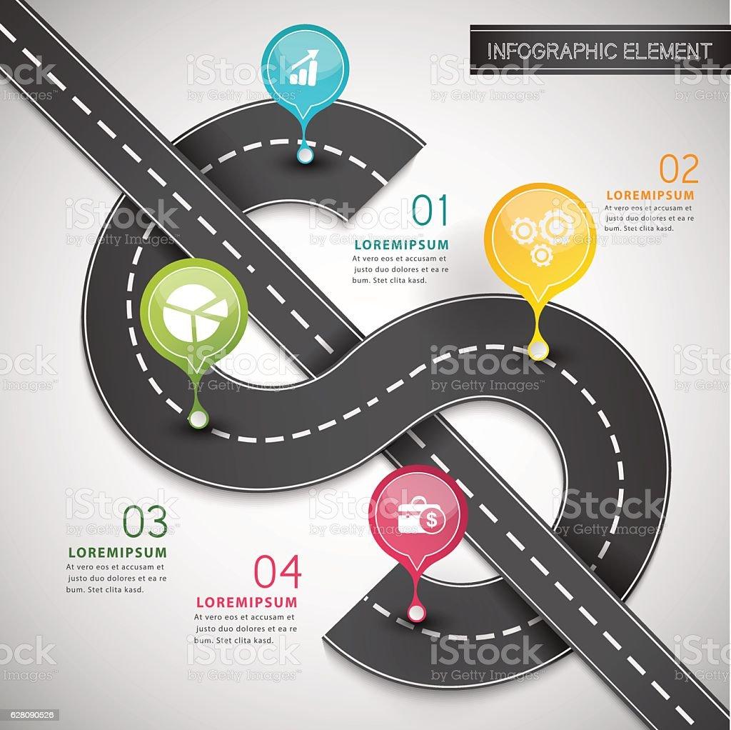 Road money infographic. vector art illustration