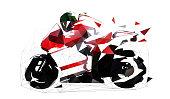 Road motorbike, low polygonal vector illustration. Motorcycle