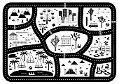 Road, Mountains and Woods Adventure Map. Kids play carpet or poster with native americans tribal elements. Trendy black and white Scandinavian Style. Vector illustration
