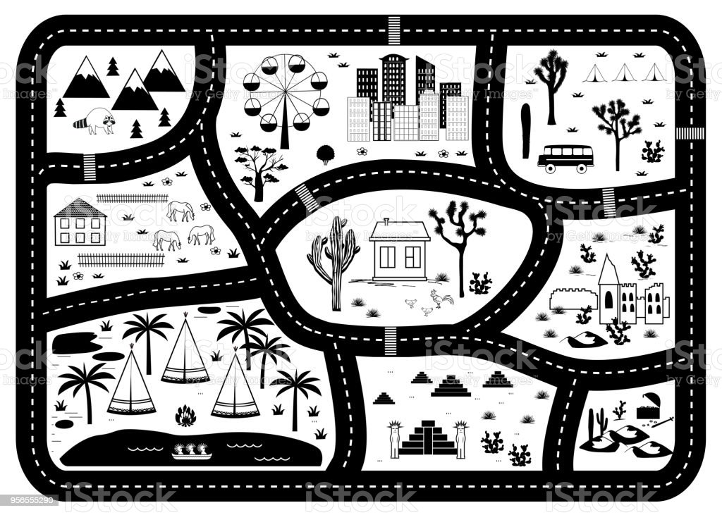 Road, Mountains and Woods Adventure Map. Kids play carpet vector art illustration