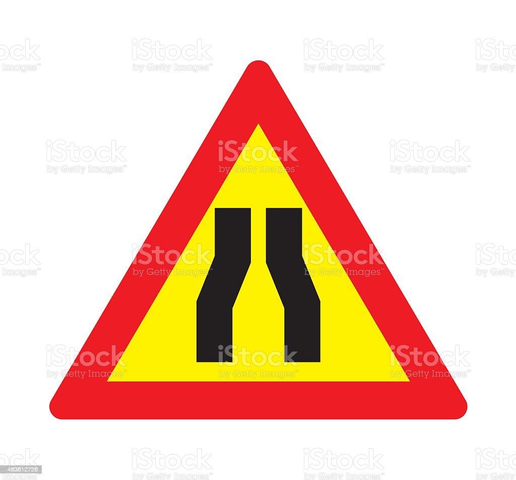 Road narrows sign. vector art illustration