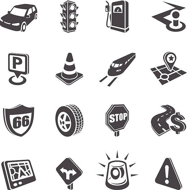 illustrazioni stock, clip art, cartoni animati e icone di tendenza di 3 d set di icone di strada di navigazione - close up auto