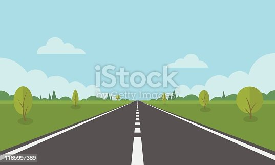 Road on background of natural landscape. Asphalt highway with markings in the countryside.