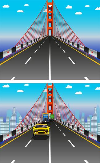 Road on the bridge, vector illustration