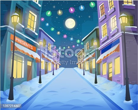 istock Road over the street with lanterns and a garland. Vector illustration of winter city street in cartoon style. 1257214307