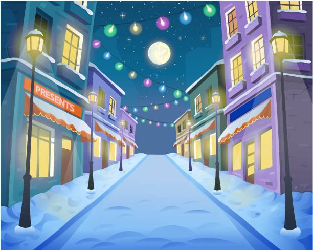 Road over the street with lanterns and a garland. Vector illustration of winter city street in cartoon style. Road over the street with lanterns and a garland. Vector illustration of winter city street in cartoon style. light through trees stock illustrations