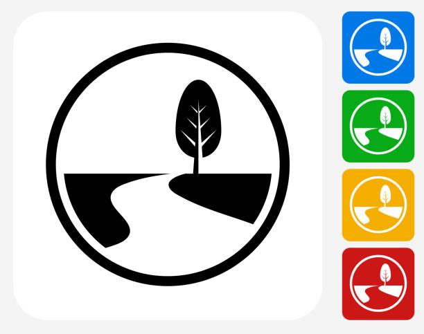 ilustraciones, imágenes clip art, dibujos animados e iconos de stock de carretera camino y árbol de iconos planos de diseño gráfico - íconos de caminos