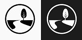 Road Path and Tree Icon on Black and White Vector Backgrounds. This vector illustration includes two variations of the icon one in black on a light background on the left and another version in white on a dark background positioned on the right. The vector icon is simple yet elegant and can be used in a variety of ways including website or mobile application icon. This royalty free image is 100% vector based and all design elements can be scaled to any size.