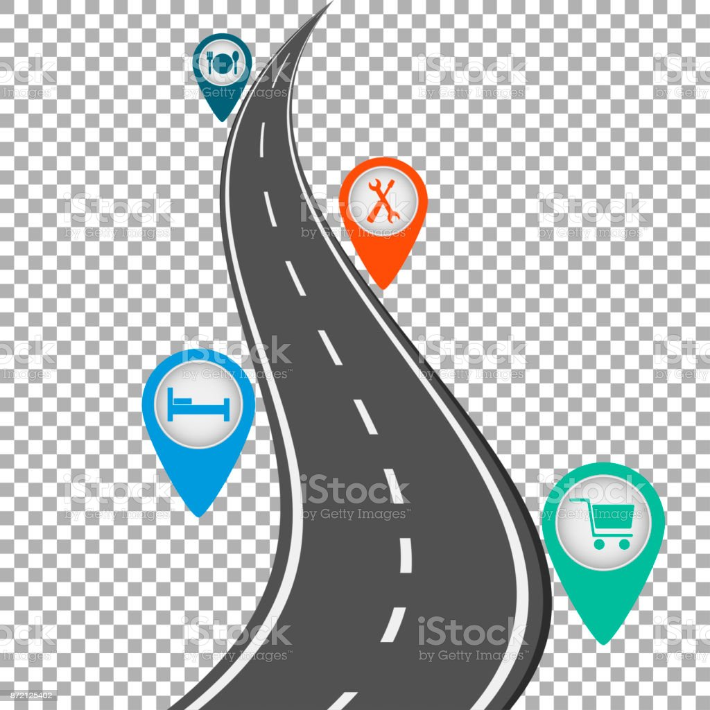 Road path on transparent background with pin pointer vector illustration vector art illustration