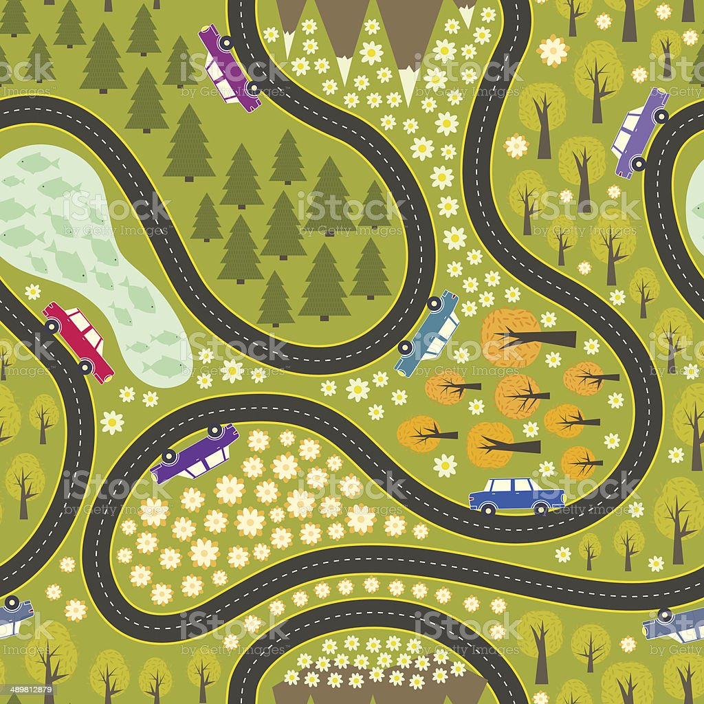 Road pattern with cars vector art illustration