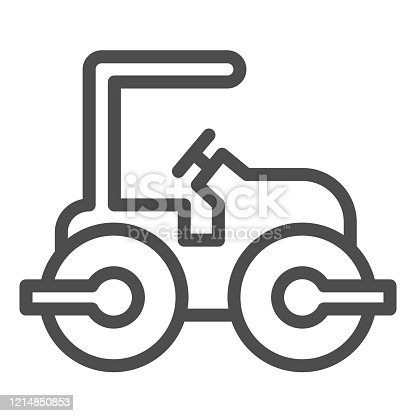 istock Road paver truck line icon. Roller heavy vehicle for laying asphalt symbol, outline style pictogram on white background. Construction sign for mobile concept and web design. Vector graphics. 1214850853