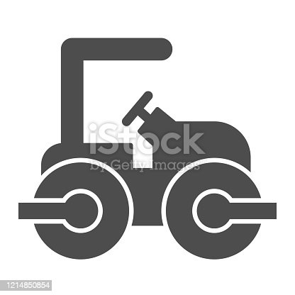 istock Road paver truck solid icon. Roller heavy vehicle for laying asphalt symbol, glyph style pictogram on white background. Construction sign for mobile concept and web design. Vector graphics. 1214850854