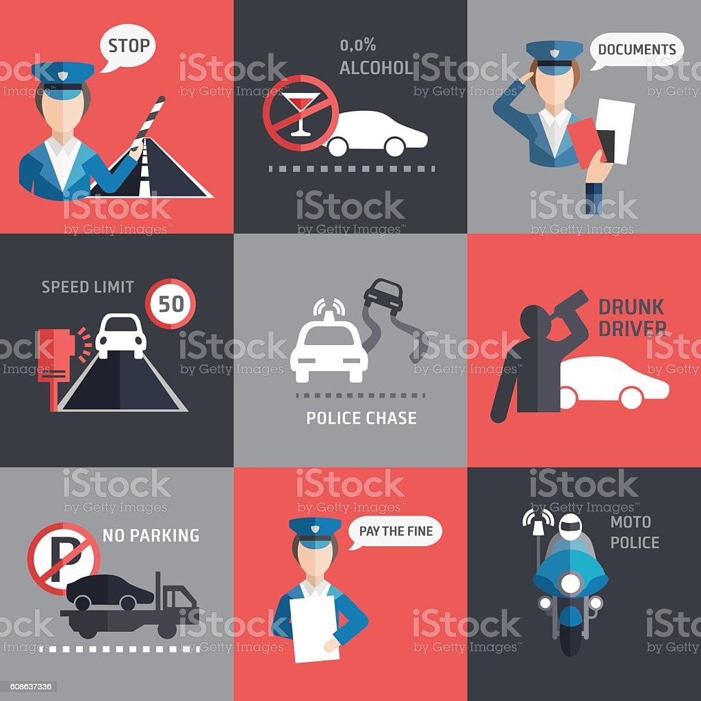 Road police flat backgroud vector vector art illustration