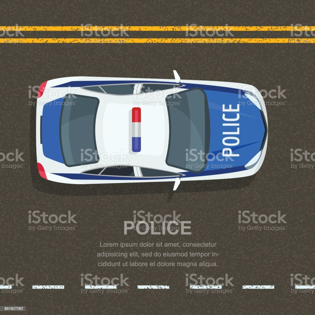 Road police patrol, vector illustration. Police car on asphalt road, top view. Street traffic and transport vector art illustration
