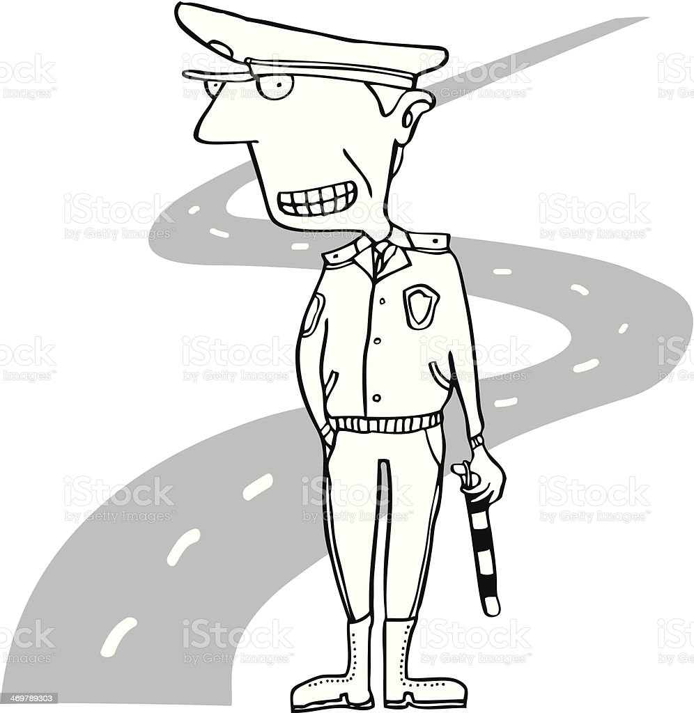 road policeman vector art illustration
